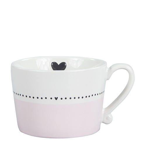 Bastion Collections Mug Rose/White with line Dots & Heart in black
