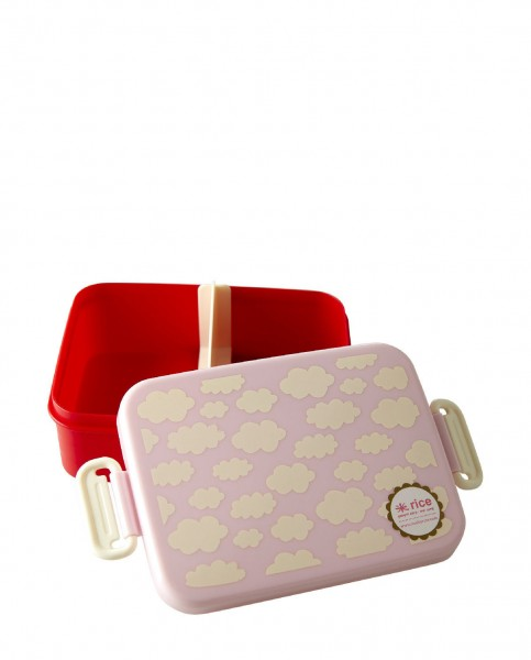 Rice Lunchbox Pink Cloud Print