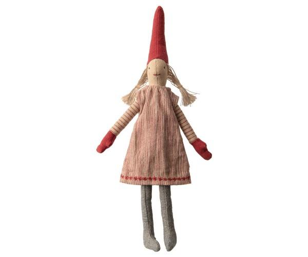"""Maileg Climbing Pixy 2019, Mädchen """"beige-rotes Kleid"""""""
