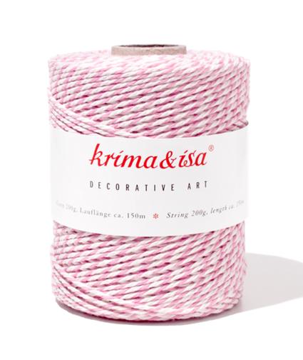 Krima & Isa Bäcker-Garn/Kordel, rosa/weiß