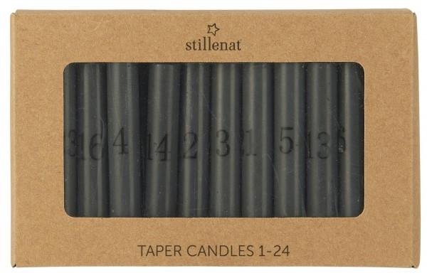 Ib Laursen Tannenbaumkerzen grau mit Zahlen 1-24
