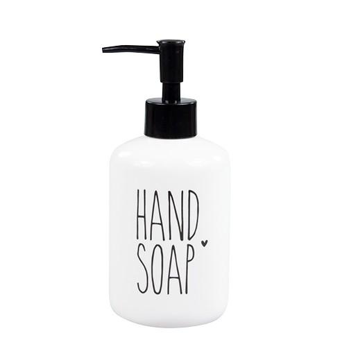 Bastion Collections Seifenspender Hand Soap, weiß mit schwarzer Schrift