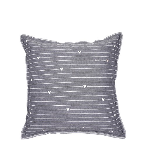 Bastion Collections Kissenhülle Black Chambray Stripes/Hearts White