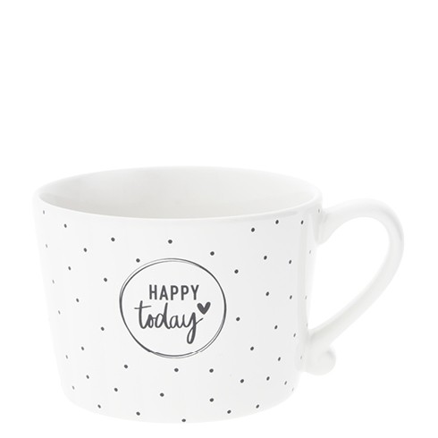 Bastion Collections Cup White / Dots and Happy today in Black