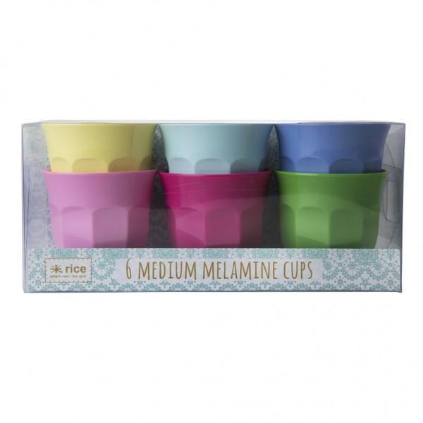 Rice Melamin Becher, Classic Colors, 6er Set
