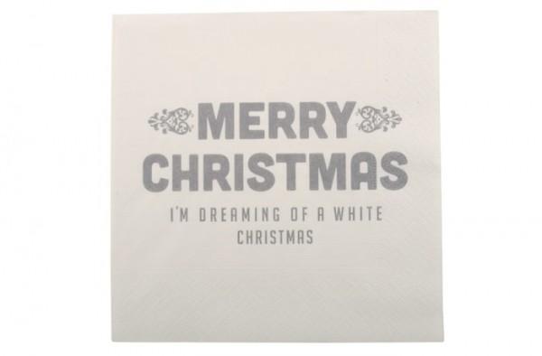 """Ib Laursen Papierservietten """"Merry Christmas"""", grau"""