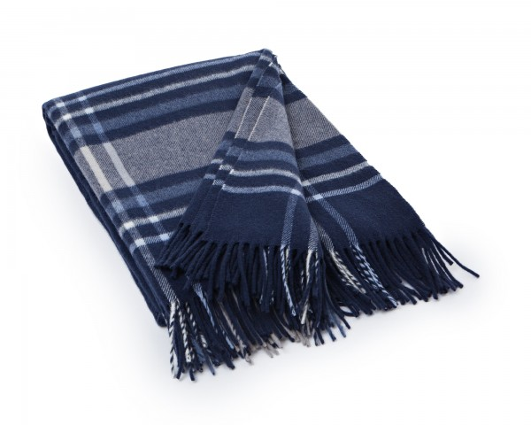Lexington Frame Wool Throw, Wolldecke, blau