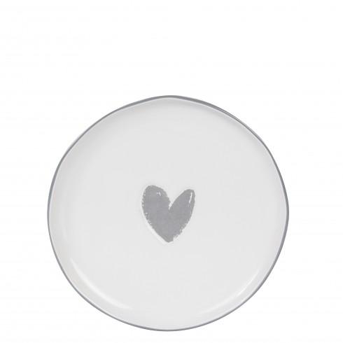 Bastion Collections Teller / Cake Plate Heart in Grey (gefülltes Herz)
