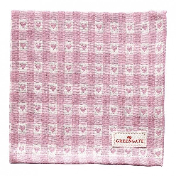 GreenGate Stoffserviette Heart Petit Pale Pink