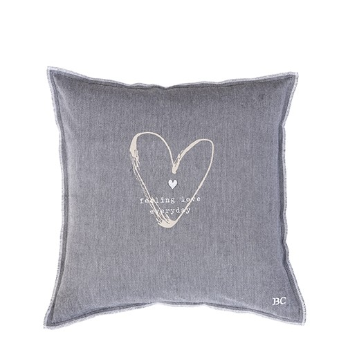 Bastion Collections Kissenhülle Black Chambray Feeling Love