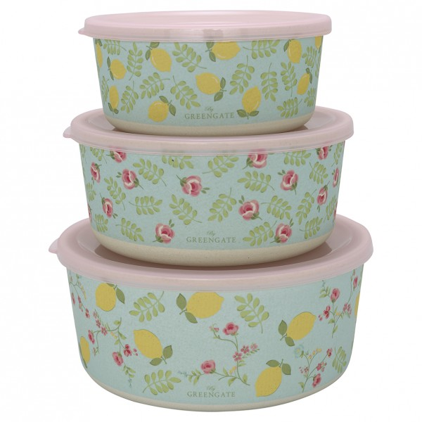 GreenGate Bambus Round Box Limona Pale Blue, 3er Set
