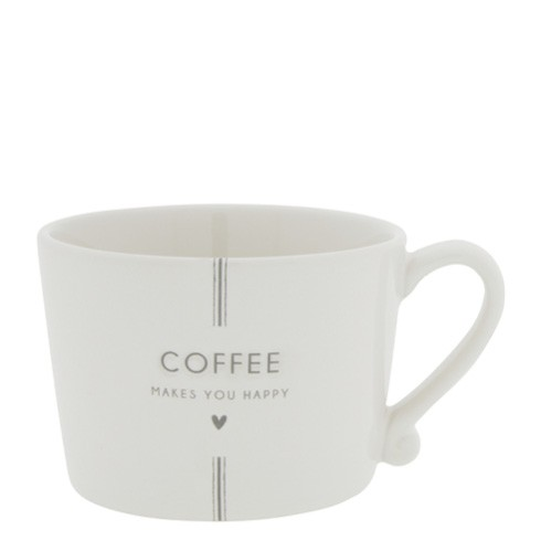 Bastion Collections Cup White / Coffee makes you happy, Grey