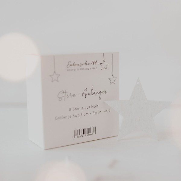 Eulenschnitt Holzanhänger Stern Weiß, 8er Set