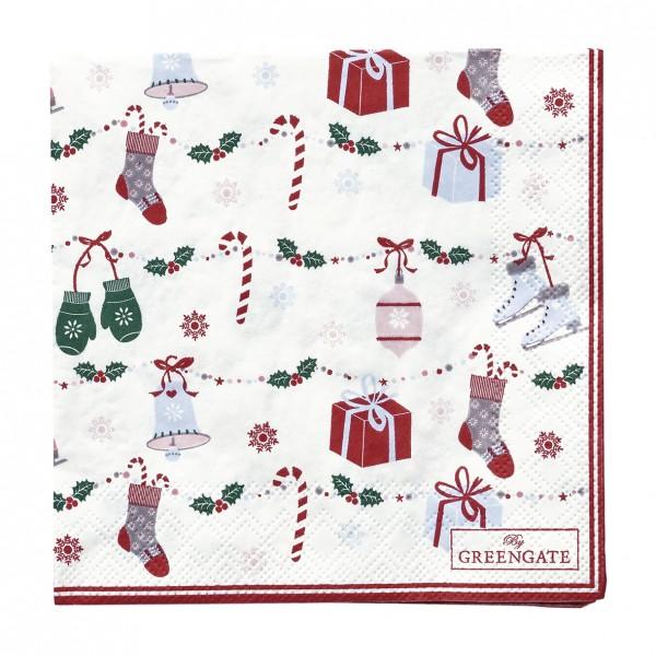 GreenGate Kleine Papierserviette Jingle Bell White