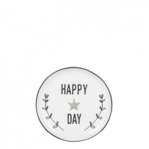 Bastion Collections Kleines Tellerchen/Teebeutelablage/Tea Tip White, Happy Day in Black
