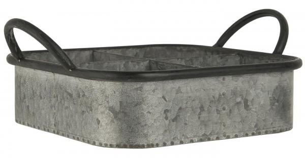 Ib Laursen Metalltablett mit 4 Fächern, Zink