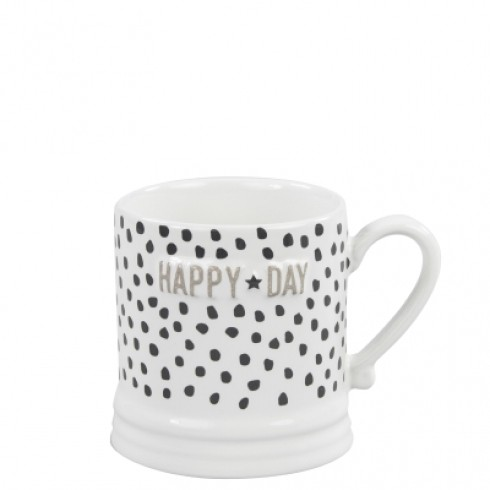 Bastion Collections Mug Small White/Black dots & Happy Day in Titane