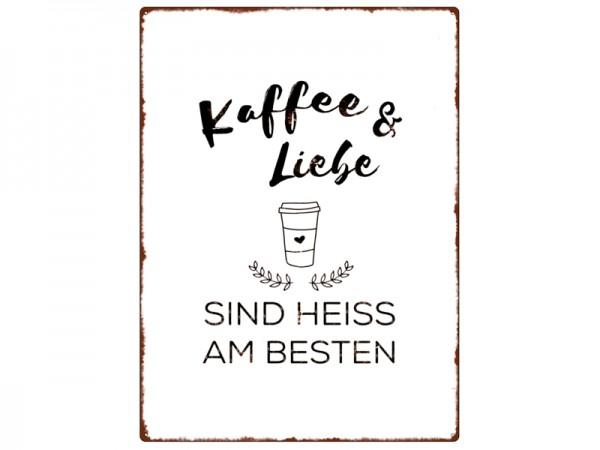 """Metallschild """"Kaffee & Liebe"""""""