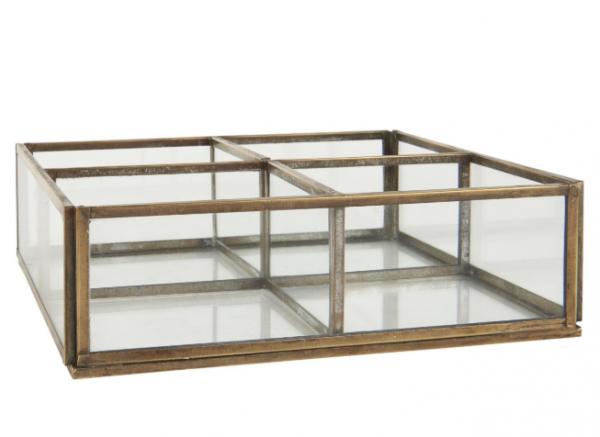 Ib Laursen Glasbox mit 4 Fächern, Gold antik