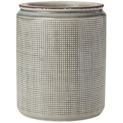 Blumentopf Keramik Hell-Grau, groß