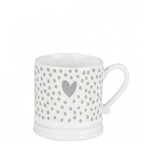 Bastion Collections Mug Small White Heart in Grey/Dots in Titane