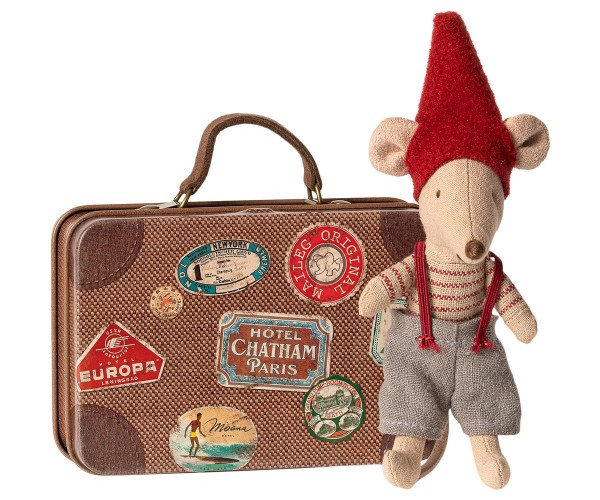 Maileg, Christmas Mouse in Suitcase Little Brother