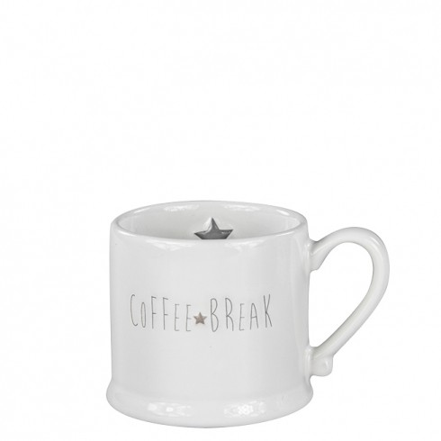 Bastion Collections Mug Small White/Coffee Break in Grey