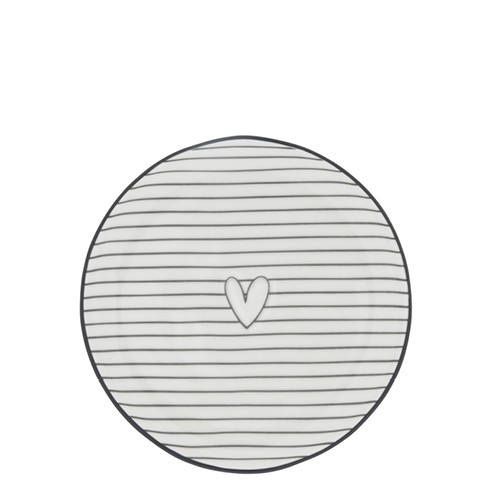 Bastion Collections Teller / Cake Plate White / Stripes & Heart in Black