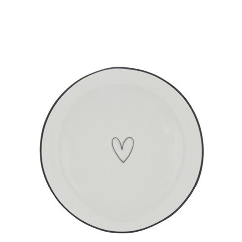 Bastion Collections Teller / Cake Plate White / Heart in Black