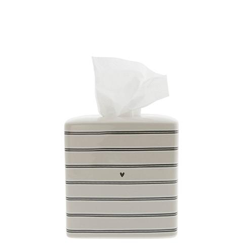 Bastion Collections Tissue Box Titane Stripes