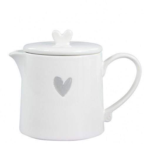 Bastion Collections Kleine Teekanne / Teapot White w. Heart in Grey