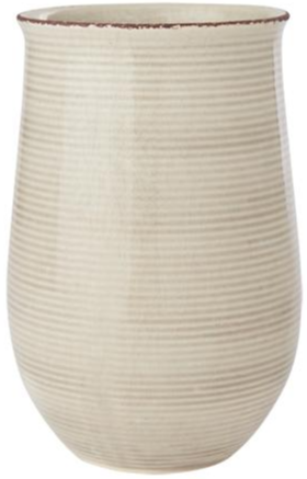 Blumenvase Keramik Streifen Sand, groß