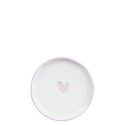 Bastion Collections Kleines Tellerchen/Teebeutelablage/Tea Tip White / Heart in Rose