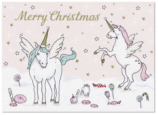 Krima & Isa Postkarte Einhorn Weihnachten