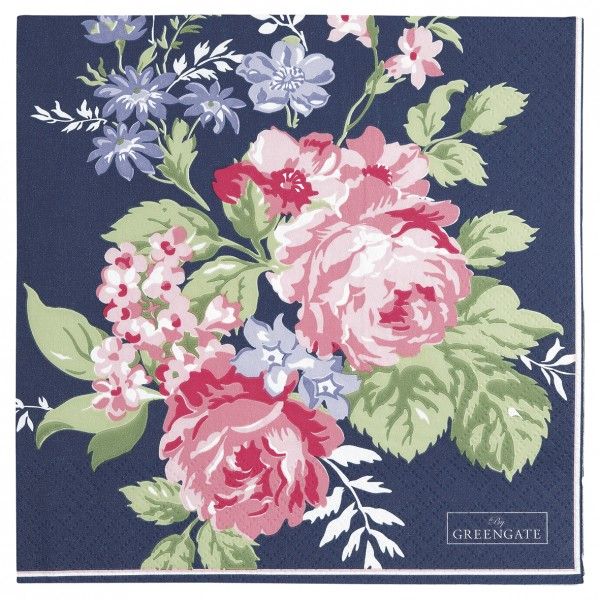GreenGate Papierserviette Rose dark blue