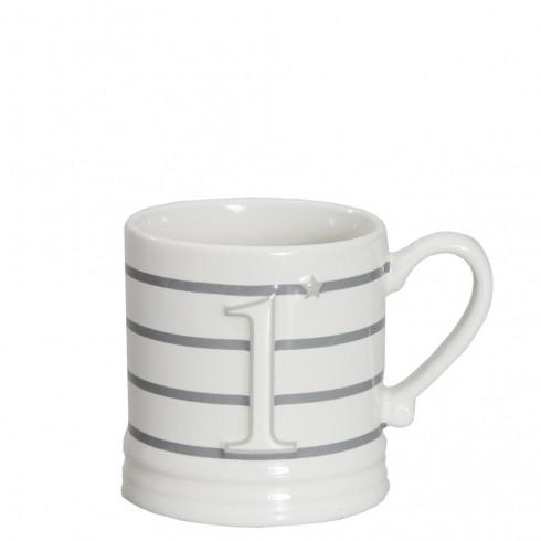 Bastion Collections Mug Small White/1 Titane & Stripes Grey