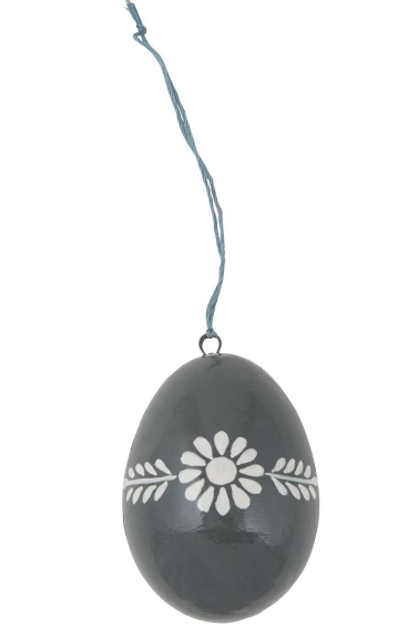 Ib Laursen Osterei grau/weisse Blume, gross