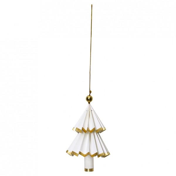 Greengate Weihnachtsbaum Tree Paper Hanging Nova white/gold, Klein