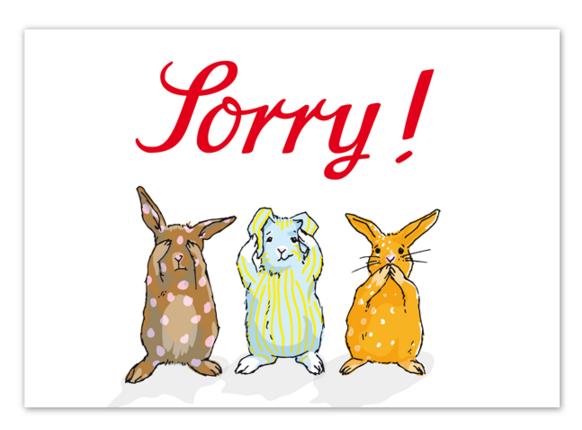 Krima & Isa Postkarte Sorry
