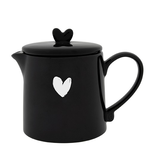 Bastion Collections Teekanne / Teapot Black w. Heart in White