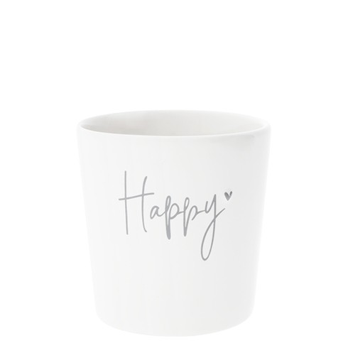 Bastion Collections Becher / Mug White/Happy in Grey