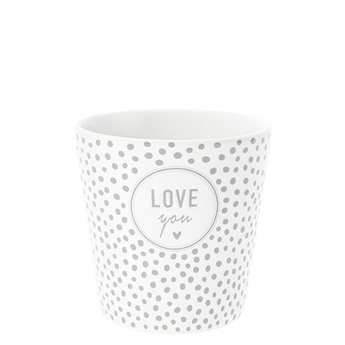 Bastion Collections Becher / Mug Dots & Love you in Grey