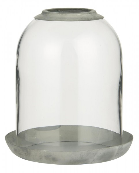 Ib Laursen Glasglocke (Loch oben) mit Metallschale Zink