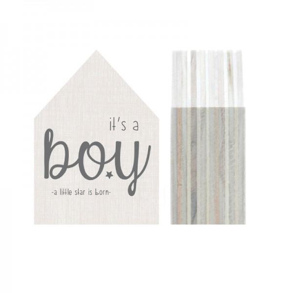"""Dots Lifestyle, Holzhäuschen """"It´s a boy"""", beige, klein"""