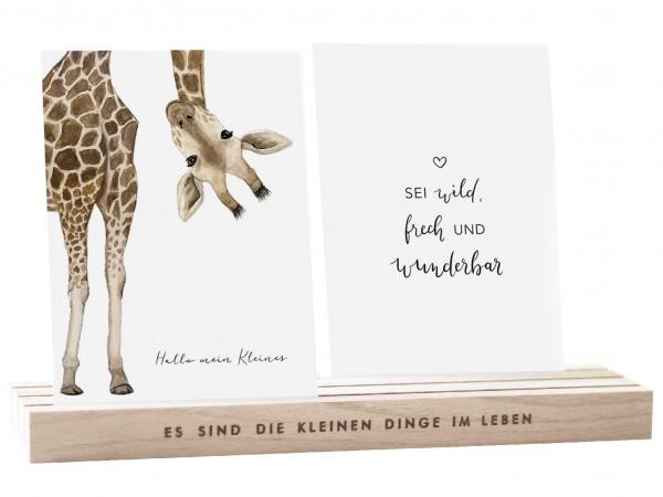 Eulenschnitt Postkartenständer NATUR, 25 cm