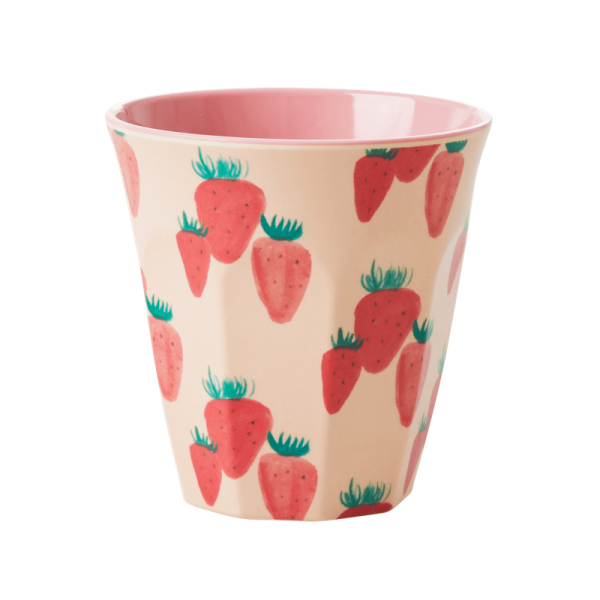 Rice Melamin Becher, Strawberry Print