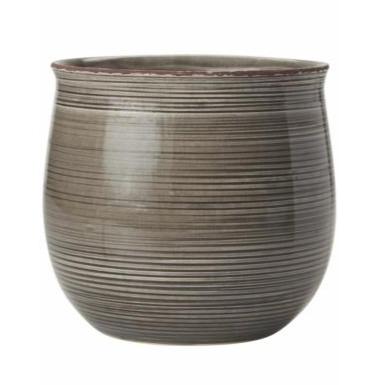 Blumentopf Keramik Streifen Grau