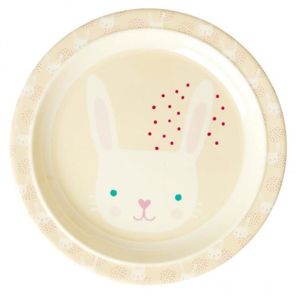 Rice Kleiner Kinderteller aus Melamin, Rabbit Print