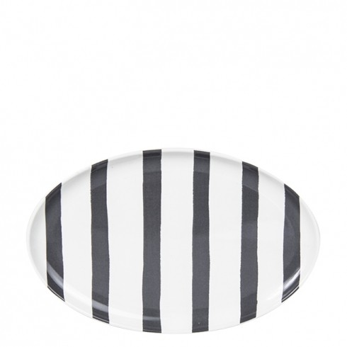 Bastion Collections Teller / Oval Plate Watercolor Black Stripes