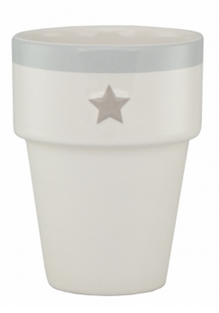 Bastion Collections, Mug White Star Titane Striipe Light Grey